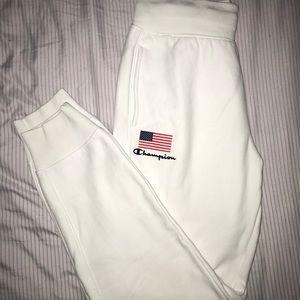 White Champion Sweatpants